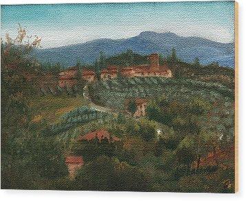 Tuscan Farm Wood Print by Leah Wiedemer