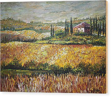 Wood Print featuring the painting Tuscan Wheat by Lou Ann Bagnall