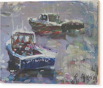 Wood Print featuring the painting Two Lobster Boats by Robert Joyner