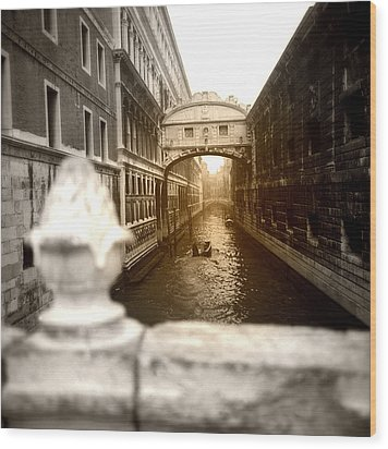 Wood Print featuring the photograph Venice Canal With Sunlight by Emanuel Tanjala