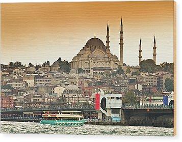 View Of Istanbul Wood Print by (C) Thanachai Wachiraworakam