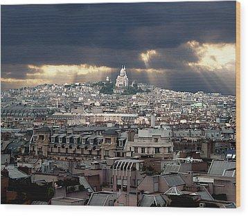 Vue De La Butte Montmartre.roofs Of Paris Wood Print by Bernard Jaubert