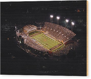 Wake Forest Aerial View Of Bb And T Field Wood Print by John Grogan
