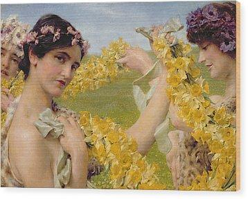 When Flowers Return Wood Print by Sir Lawrence Alma-Tadema
