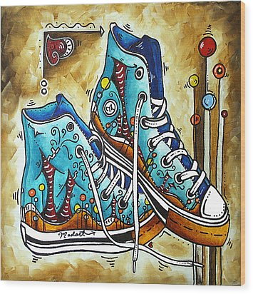 Whimsical Shoes By Madart Wood Print by Megan Duncanson