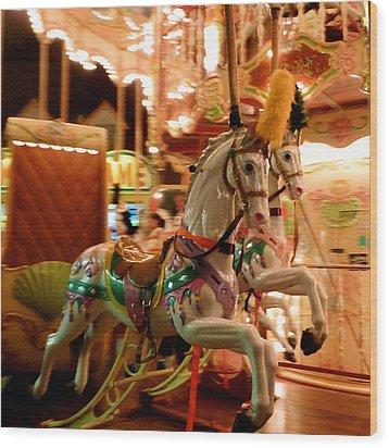 White Horses Wood Print by Linda Scharck