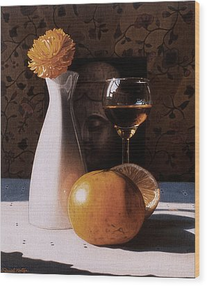 White Vase And Grapefruits Wood Print by Daniel Montoya
