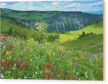 Wild Flowers Blooming On Mount Rainier Wood Print by Feng Wei Photography