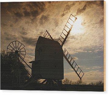 Windmill At Dusk  Wood Print by Pixel Chimp