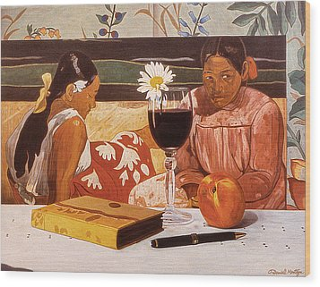 Wine Glass And Gauguin Wood Print by Daniel Montoya