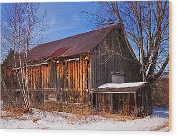 Winter Barn - Chatham New Hampshire Wood Print by Thomas Schoeller