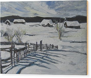 Wood Print featuring the painting Winter Scene by Debora Cardaci