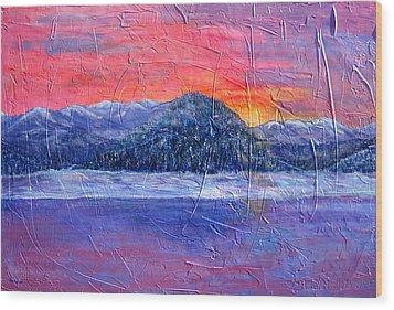 Winter Sunset Wood Print by Sandy Hemmer