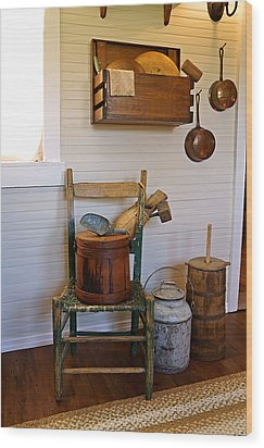 Wooden Wares And Farm Life Wood Print by Carmen Del Valle