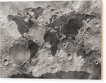 World Map On The Moon's Surface Wood Print by Michael Tompsett