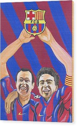 Wood Print featuring the painting Xavi And Iniesta by Emmanuel Baliyanga