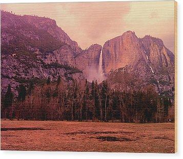 Yosemite Falls View Wood Print by Denise Taylor