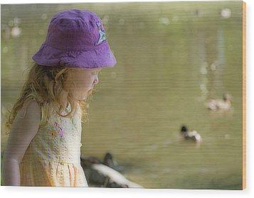 Young Girl Bird Watching Wood Print