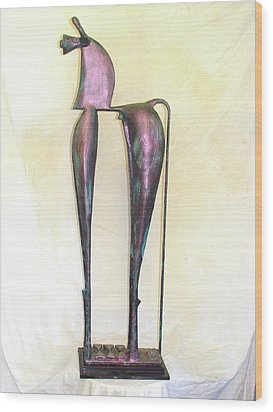 Wood Print featuring the sculpture Young Trumpeting Horse by Al Goldfarb