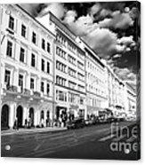 White Buildings In Prague Acrylic Print by John Rizzuto