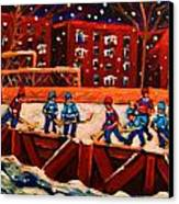 Snow Falling On The Hockey Rink Canvas Print
