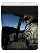 Co-pilot Flying A Ch-47 Chinook Duvet Cover