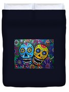 Couple Day Of The Dead Duvet Cover by Pristine Cartera Turkus
