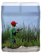 Fishing At Hickory Mound Duvet Cover