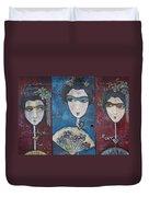 Geisha Love Triptych Duvet Cover
