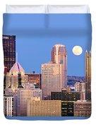 Moon Over Pittsburgh 2 Duvet Cover by Emmanuel Panagiotakis