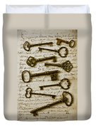 Old Keys On Letter Duvet Cover by Garry Gay