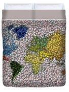 World Map Bottle Cap Mosaic Duvet Cover