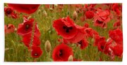 Red Poppies 4 Bath Towel