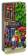 Monkland Tavern Corner Old Orchard Montreal Street Scene Painting Portable Battery Charger by Carole Spandau