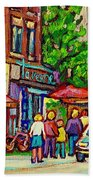 Monkland Tavern Corner Old Orchard Montreal Street Scene Painting Beach Towel by Carole Spandau