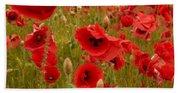 Red Poppies 4 Beach Sheet