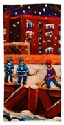 Snow Falling On The Hockey Rink Beach Towel