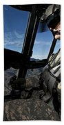 Co-pilot Flying A Ch-47 Chinook Beach Towel