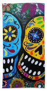 Couple Day Of The Dead Beach Towel by Pristine Cartera Turkus