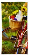 A Loaf Of Bread A Jug Of Wine And A Bike Beach Towel by Elaine Plesser