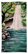 Mystical Waterfall Beach Towel