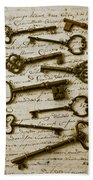 Old Keys On Letter Beach Towel by Garry Gay