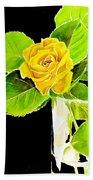 Rose In Vase Beach Towel