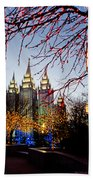 Slc Temple Lights Lamp Beach Towel