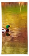 Swimming In Reflections Beach Towel
