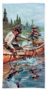 Two Fishermen In Canoe Beach Towel