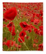 Red Poppies 4 Fleece Blanket