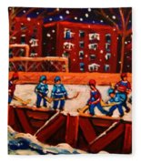 Snow Falling On The Hockey Rink Fleece Blanket