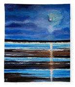 Midnight At The Beach Fleece Blanket