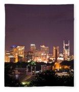 Nashville Cityscape 3 Fleece Blanket